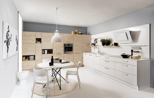 Koje 23 - Lux Weiß Hochglanz / Artwood Asteiche natur