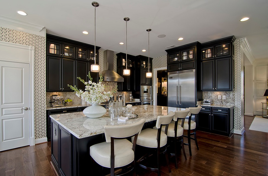 beautiful-modern-kitchen-black-cabinets-white-granite-counter-stainless-steel-appliances1